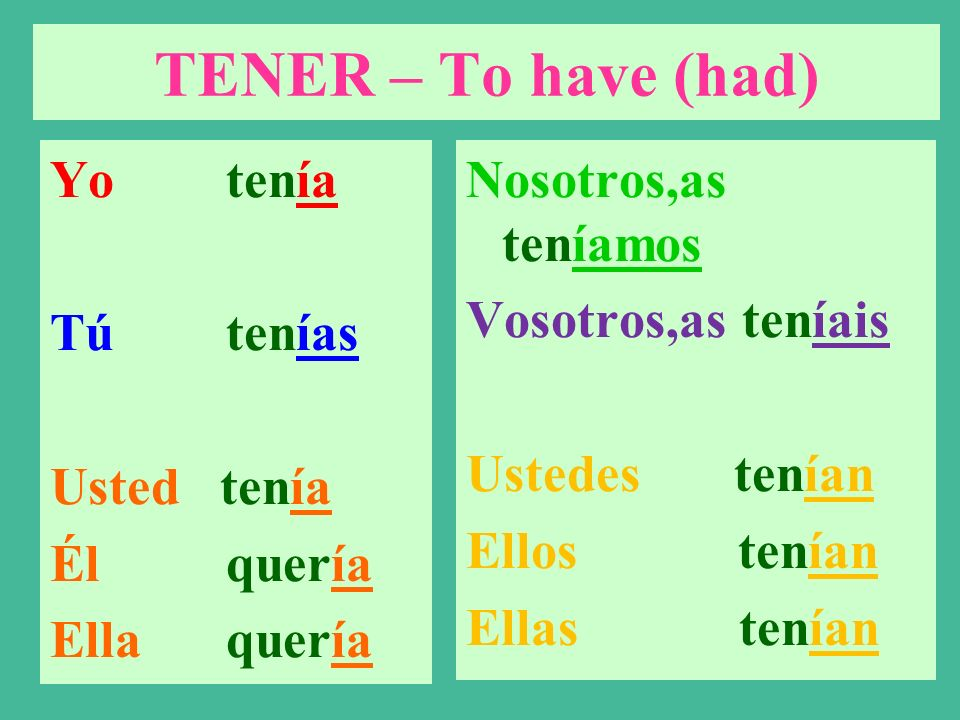 TENER – To have (had) Tener means to have It is a stem-changing verb. The imperfect form is used to talk about what you wanted in the past