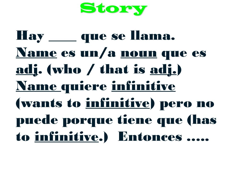 Story Vocabulary 1. que – who / that (conjunction connecting 2 sentences) 2.
