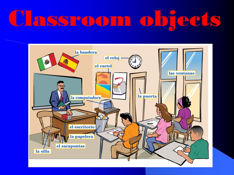 ¿Qué hay en la sala de clase? Hay un teclado. un teclado