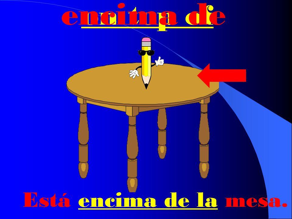 underneath debajo de Está debajo de la mesa.