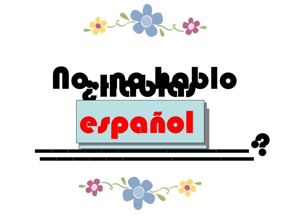 ¿Hablas _____________ español No, no hablo _____________. español