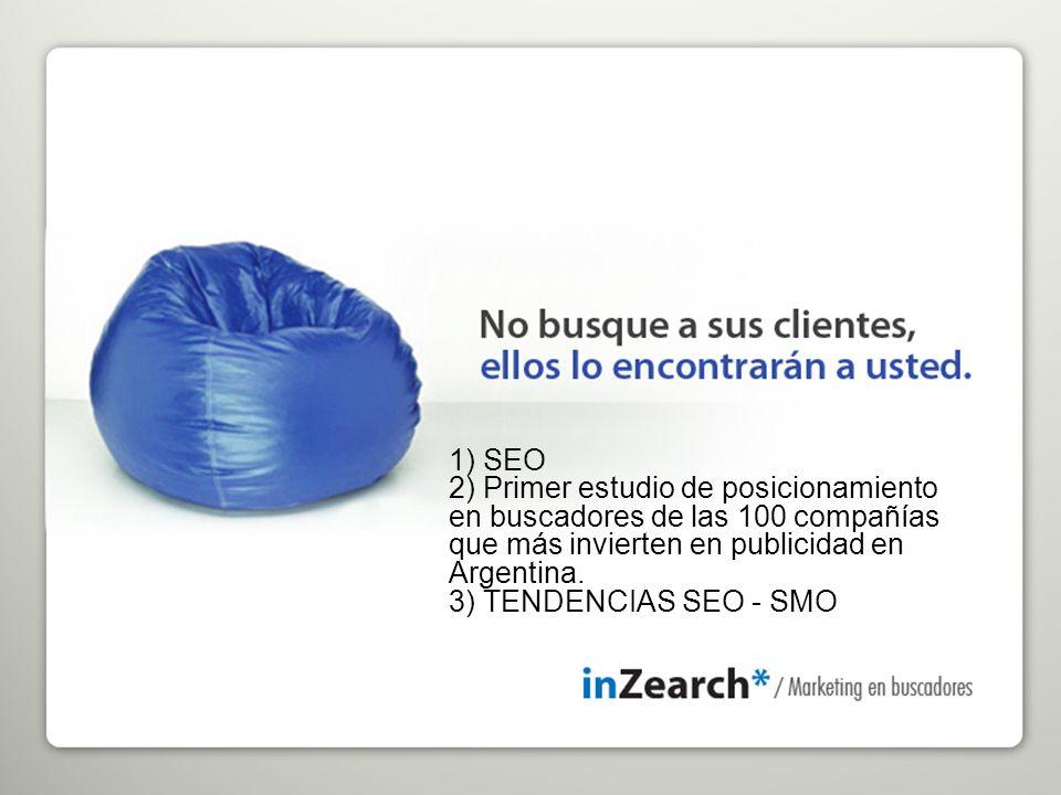 1) SEO 2) Primer estudio de posicionamiento en buscadores de las 100 compañías que más invierten en publicidad en Argentina.