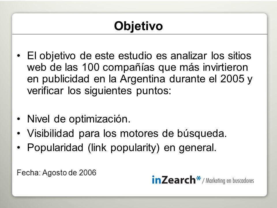 El objetivo de este estudio es analizar los sitios web de las 100 compañías que más invirtieron en publicidad en la Argentina durante el 2005 y verificar los siguientes puntos: Nivel de optimización.
