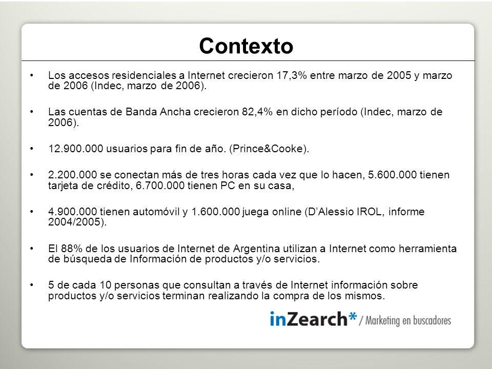 Los accesos residenciales a Internet crecieron 17,3% entre marzo de 2005 y marzo de 2006 (Indec, marzo de 2006).