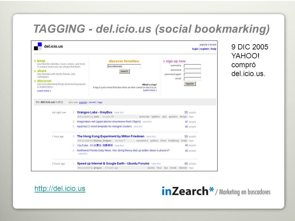 9 DIC 2005 YAHOO! compró del.icio.us. http://del.icio.us TAGGING - del.icio.us (social bookmarking)