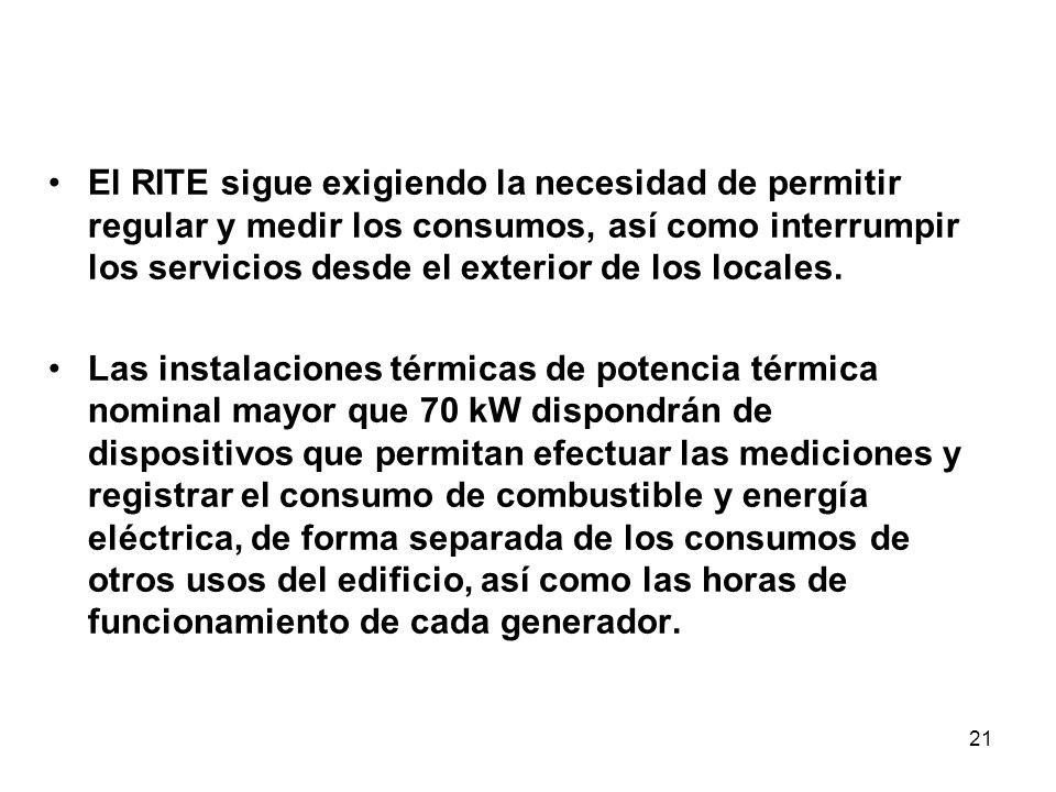 21 El RITE sigue exigiendo la necesidad de permitir regular y medir los consumos, así como interrumpir los servicios desde el exterior de los locales.