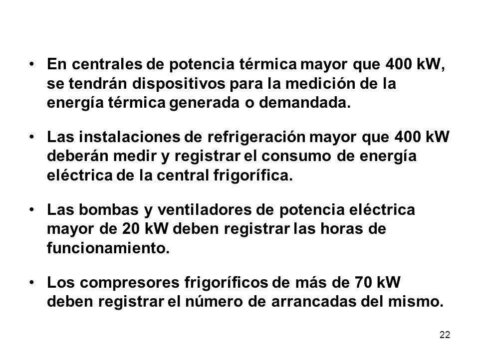 22 En centrales de potencia térmica mayor que 400 kW, se tendrán dispositivos para la medición de la energía térmica generada o demandada.