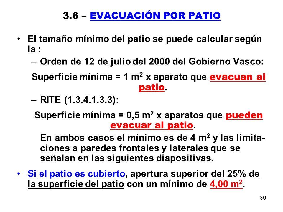 30 3.6 – EVACUACIÓN POR PATIO El tamaño mínimo del patio se puede calcular según la : –Orden de 12 de julio del 2000 del Gobierno Vasco: Superficie mínima = 1 m 2 x aparato que evacuan al patio.