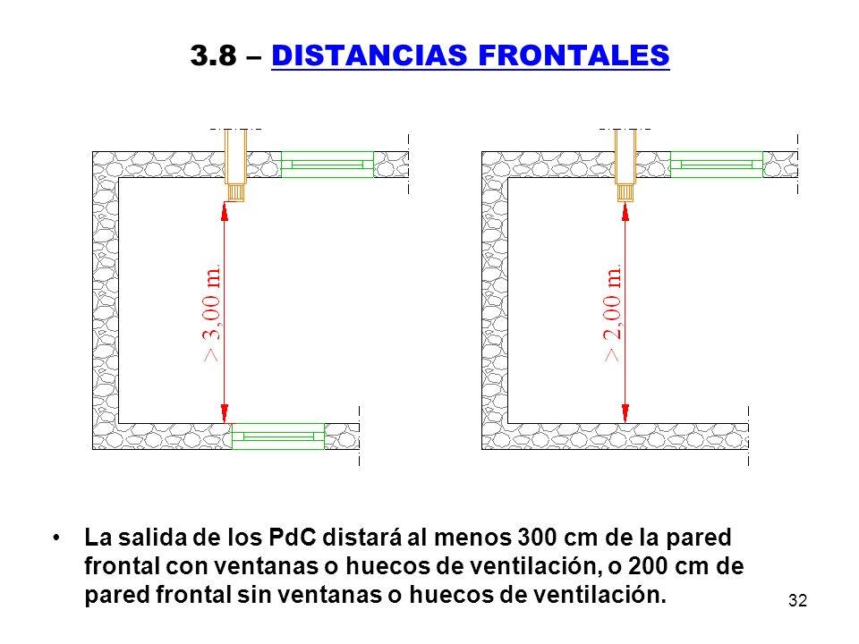 32 3.8 – DISTANCIAS FRONTALES La salida de los PdC distará al menos 300 cm de la pared frontal con ventanas o huecos de ventilación, o 200 cm de pared frontal sin ventanas o huecos de ventilación.