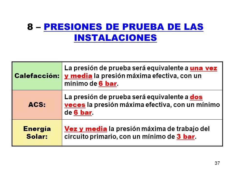 37 8 – PRESIONES DE PRUEBA DE LAS INSTALACIONES Calefacción: La presión de prueba será equivalente a una vez y media la presión máxima efectiva, con un mínimo de 6 bar.