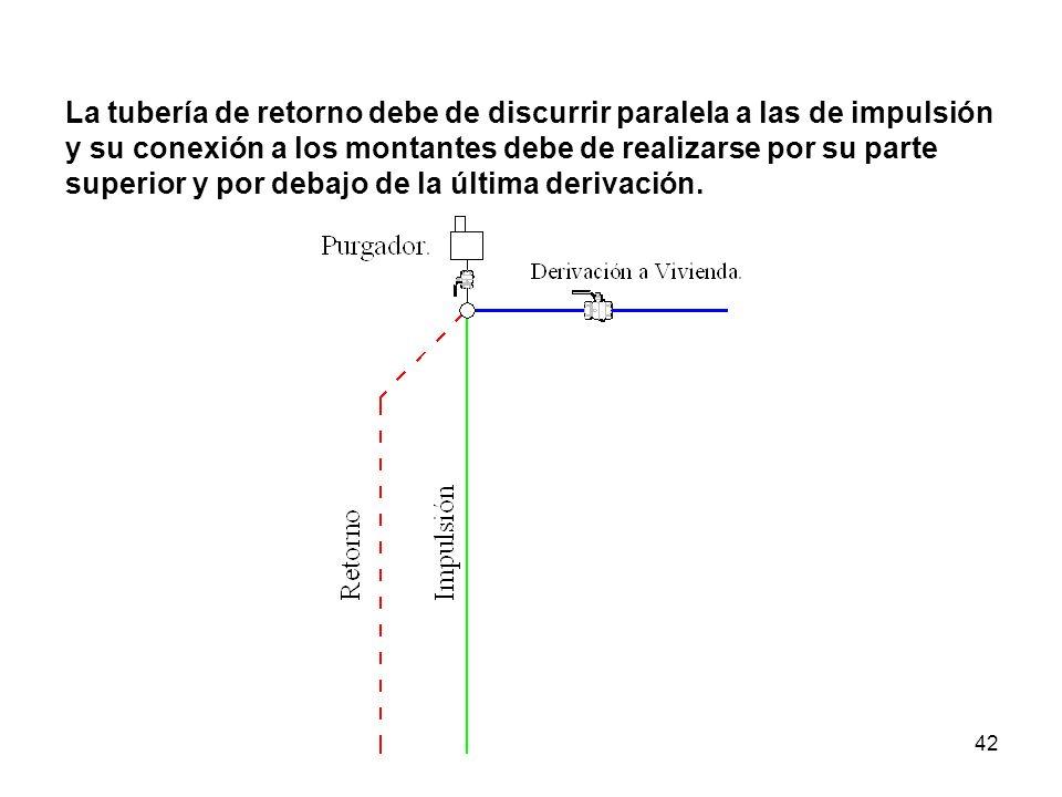 42 La tubería de retorno debe de discurrir paralela a las de impulsión y su conexión a los montantes debe de realizarse por su parte superior y por debajo de la última derivación.