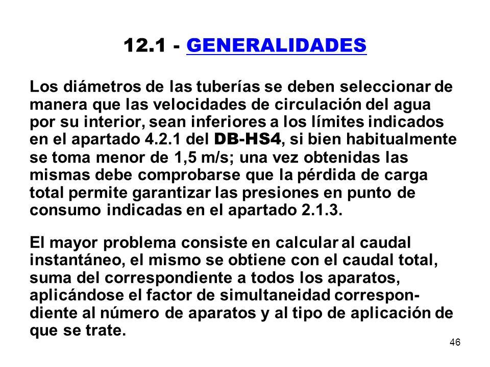 46 12.1 - GENERALIDADES Los diámetros de las tuberías se deben seleccionar de manera que las velocidades de circulación del agua por su interior, sean inferiores a los límites indicados en el apartado 4.2.1 del DB-HS4, si bien habitualmente se toma menor de 1,5 m/s; una vez obtenidas las mismas debe comprobarse que la pérdida de carga total permite garantizar las presiones en punto de consumo indicadas en el apartado 2.1.3.