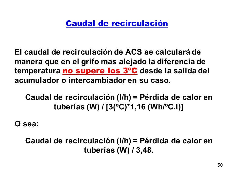 50 Caudal de recirculación El caudal de recirculación de ACS se calculará de manera que en el grifo mas alejado la diferencia de temperatura no supere los 3ºC desde la salida del acumulador o intercambiador en su caso.