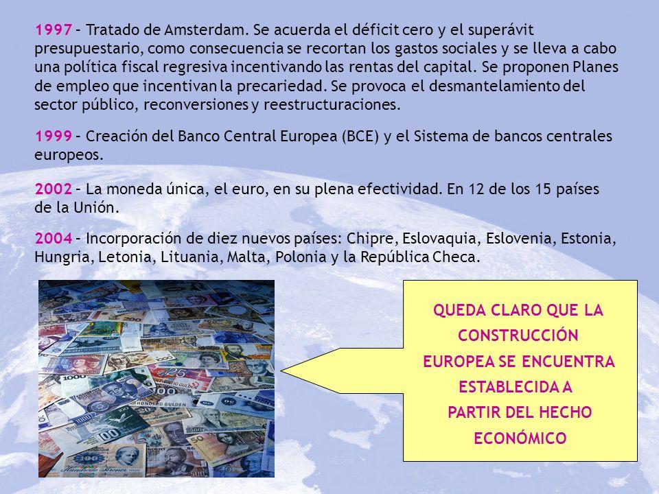 1997 1997 – Tratado de Amsterdam. Se acuerda el déficit cero y el superávit presupuestario, como consecuencia se recortan los gastos sociales y se lle