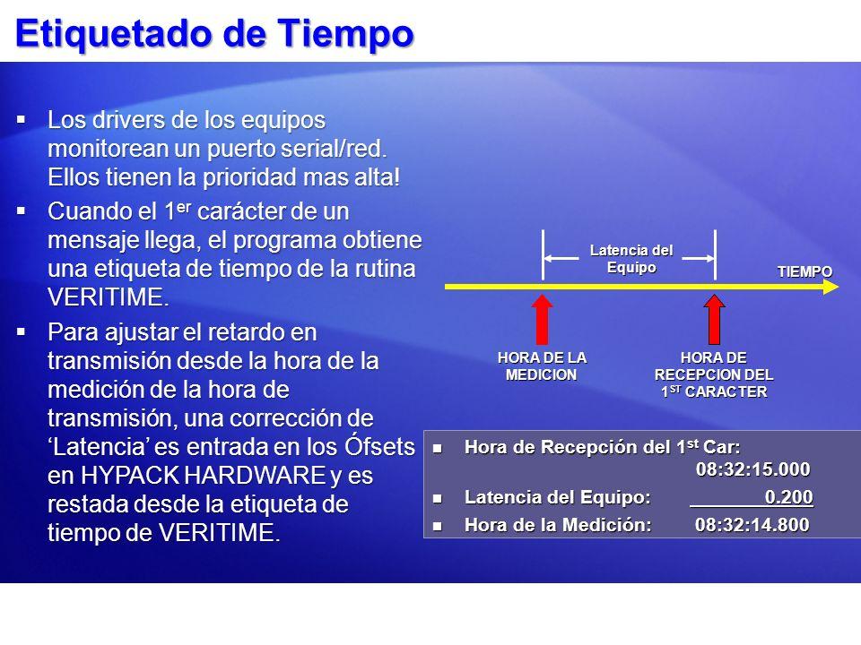 Etiquetado de Tiempo TIEMPO HORA DE LA MEDICION HORA DE RECEPCION DEL 1 ST CARACTER Latencia del Equipo Hora de Recepción del 1 st Car: 08:32:15.000 Hora de Recepción del 1 st Car: 08:32:15.000 Latencia del Equipo: 0.200 Latencia del Equipo: 0.200 Hora de la Medición: 08:32:14.800 Hora de la Medición: 08:32:14.800 Los drivers de los equipos monitorean un puerto serial/red.
