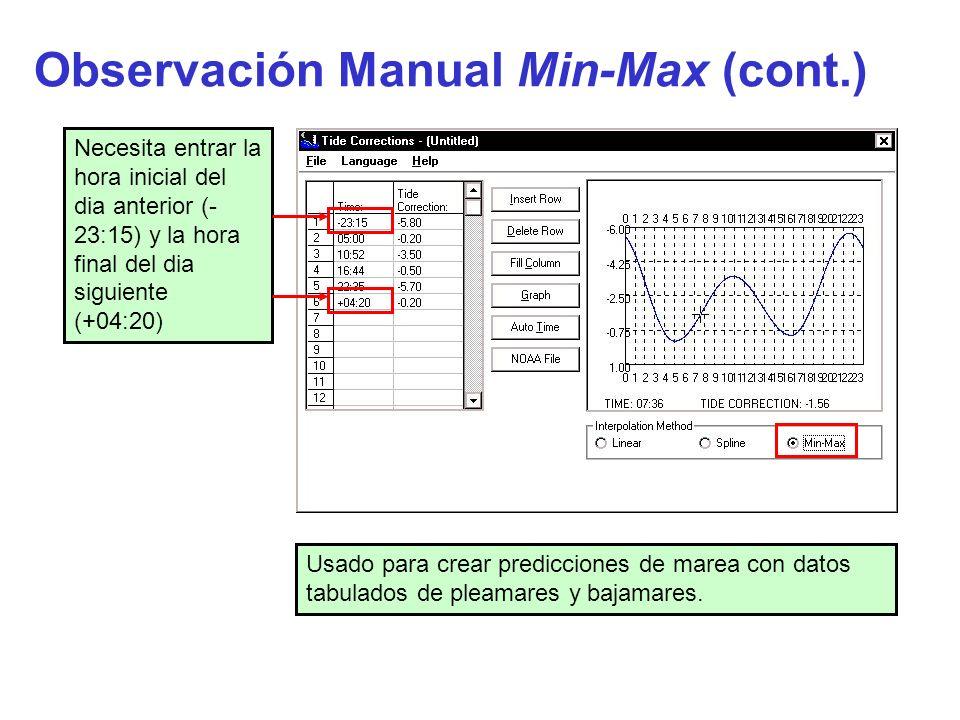Observación Manual Min-Max (cont.) Usado para crear predicciones de marea con datos tabulados de pleamares y bajamares. Necesita entrar la hora inicia