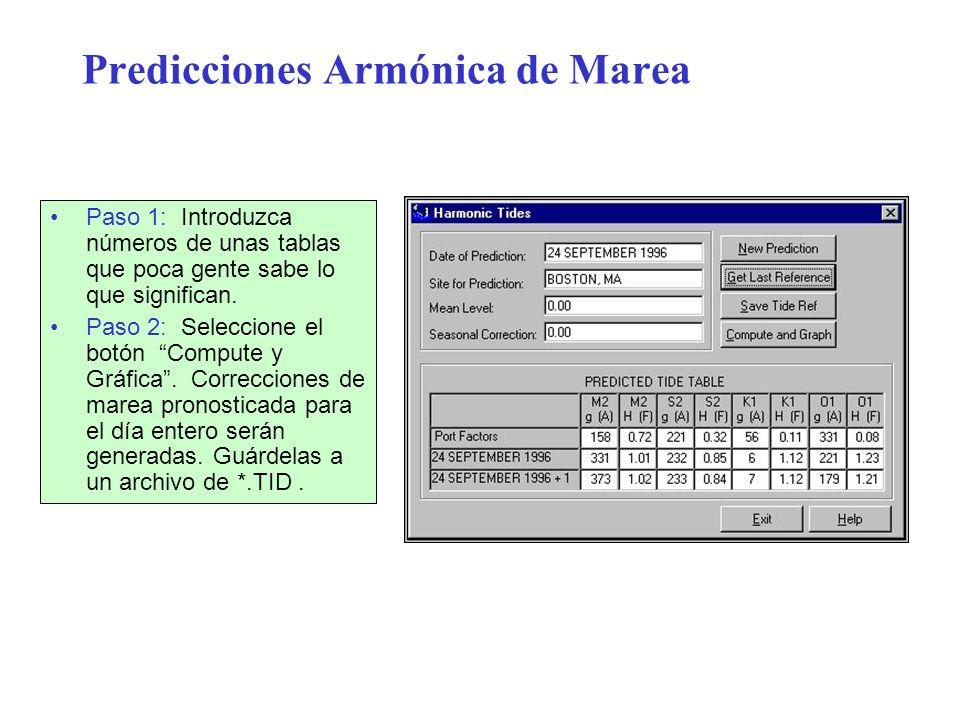 Predicciones Armónica de Marea Paso 1: Introduzca números de unas tablas que poca gente sabe lo que significan. Paso 2: Seleccione el botón Compute y
