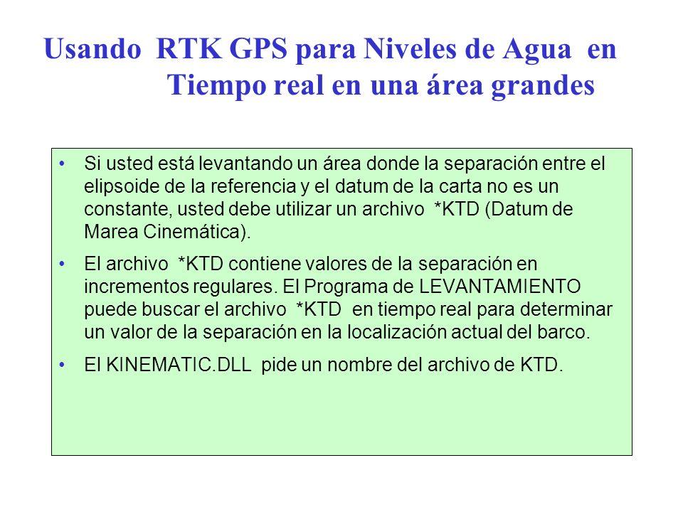 Usando RTK GPS para Niveles de Agua en Tiempo real en una área grandes Si usted está levantando un área donde la separación entre el elipsoide de la r