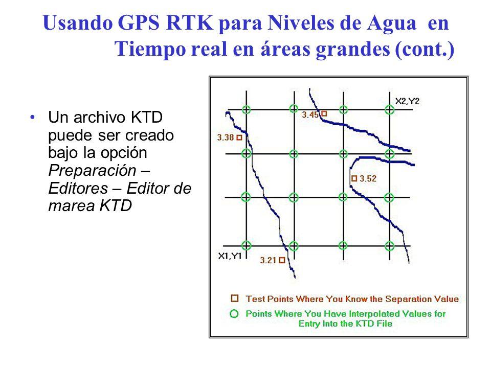 Usando GPS RTK para Niveles de Agua en Tiempo real en áreas grandes (cont.) Un archivo KTD puede ser creado bajo la opción Preparación – Editores – Ed