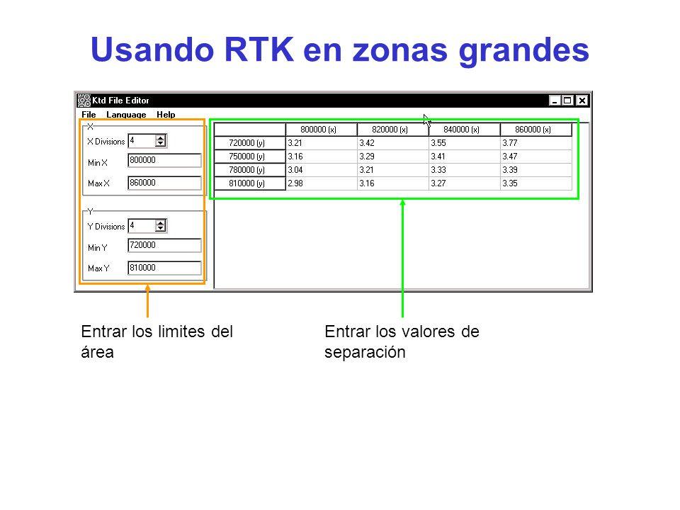 Usando RTK en zonas grandes Entrar los limites del área Entrar los valores de separación