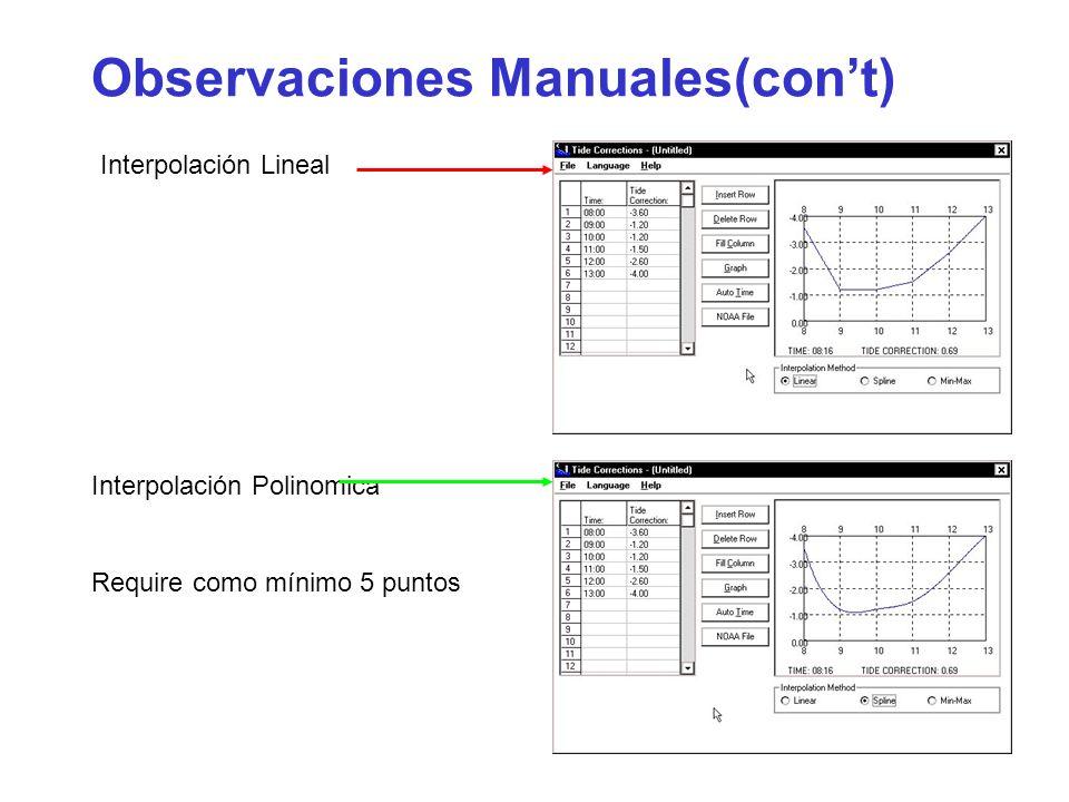 Observaciones Manuales(cont) Interpolación Lineal Interpolación Polinomica Require como mínimo 5 puntos