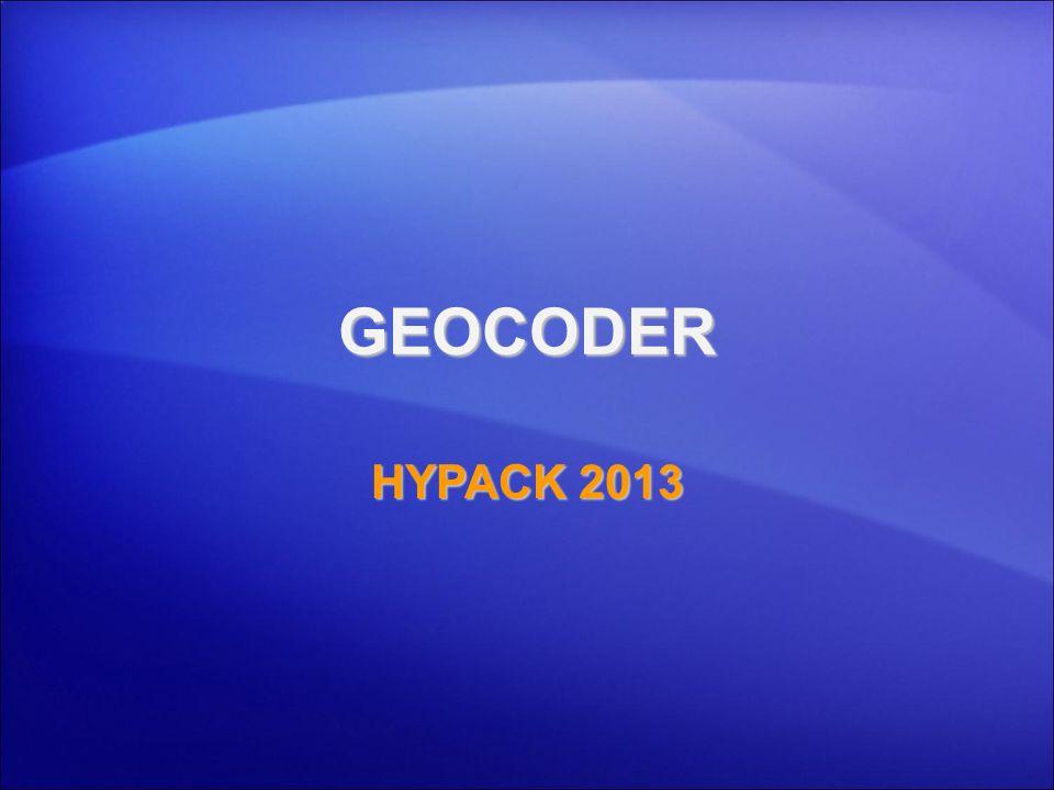 GEOCODER HYPACK 2013