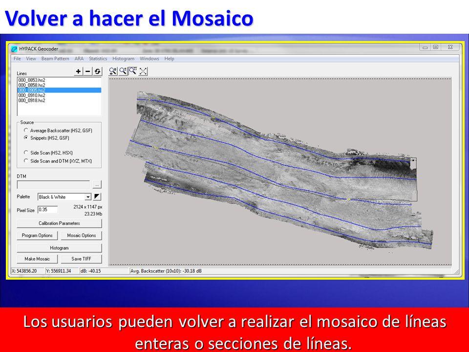 Los usuarios pueden volver a realizar el mosaico de líneas enteras o secciones de líneas. Normalmente usado para cambiar la opción de traslapo. Volver