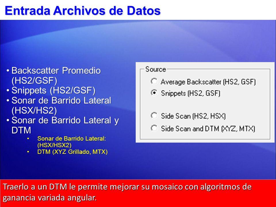 4 Entrada Archivos de Datos Backscatter Promedio (HS2/GSF)Backscatter Promedio (HS2/GSF) Snippets (HS2/GSF)Snippets (HS2/GSF) Sonar de Barrido Lateral