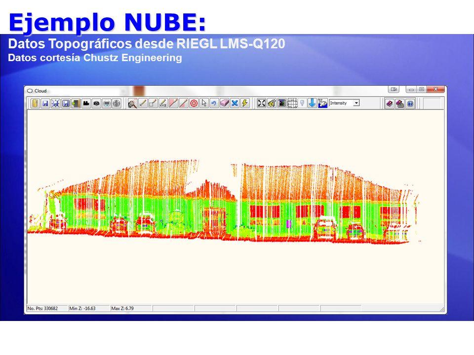 Ejemplo NUBE: Ejemplo NUBE: Datos Topográficos desde RIEGL LMS-Q120 Datos cortesía Chustz Engineering