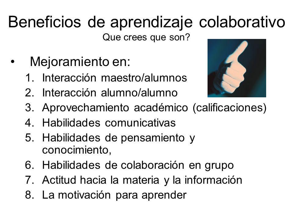 Beneficios de aprendizaje colaborativo Que crees que son? Mejoramiento en: 1.Interacción maestro/alumnos 2.Interacción alumno/alumno 3.Aprovechamiento