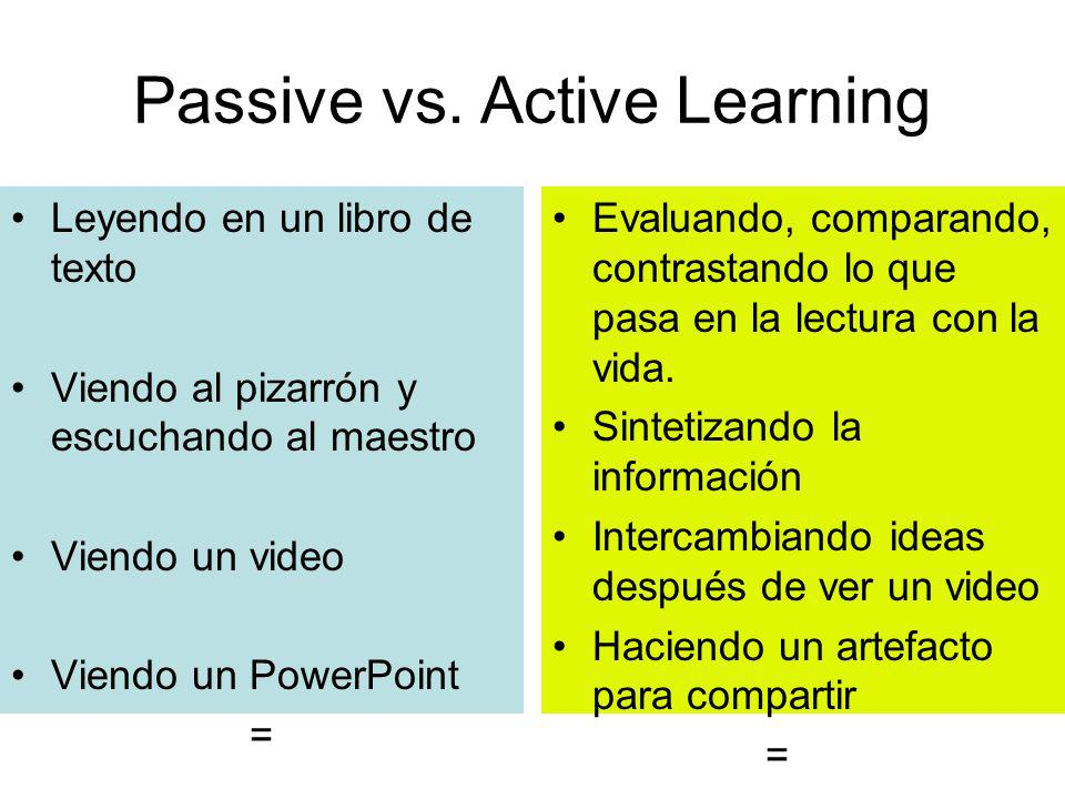 Passive vs. Active Learning Leyendo en un libro de texto Viendo al pizarrón y escuchando al maestro Viendo un video Viendo un PowerPoint = Evaluando,