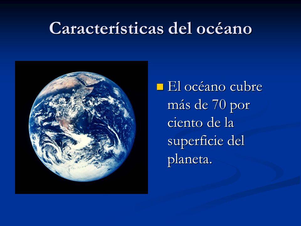 Características del océano El océano cubre más de 70 por ciento de la superficie del planeta.