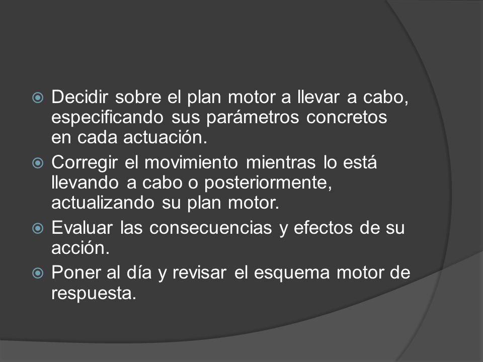 Decidir sobre el plan motor a llevar a cabo, especificando sus parámetros concretos en cada actuación. Corregir el movimiento mientras lo está llevand