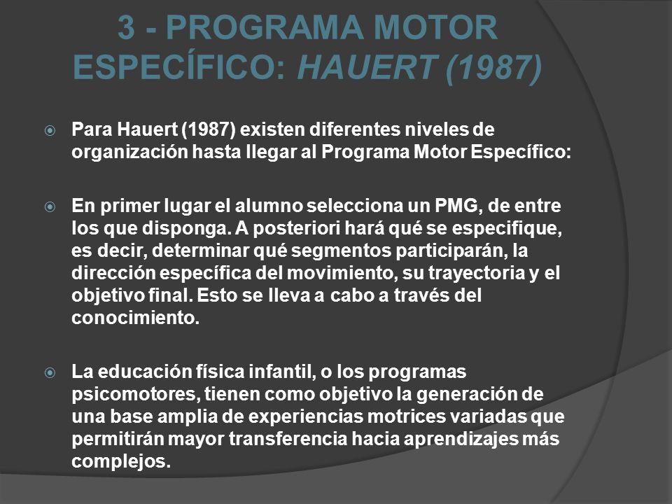 3 - PROGRAMA MOTOR ESPECÍFICO: HAUERT (1987) Para Hauert (1987) existen diferentes niveles de organización hasta llegar al Programa Motor Específico: