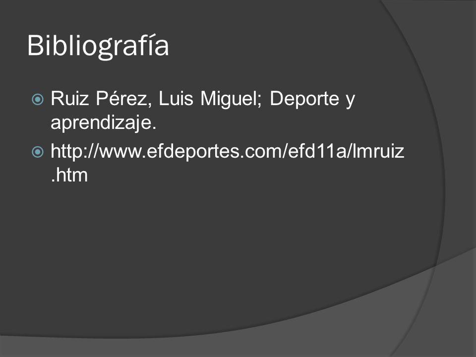 Bibliografía Ruiz Pérez, Luis Miguel; Deporte y aprendizaje. http://www.efdeportes.com/efd11a/lmruiz.htm