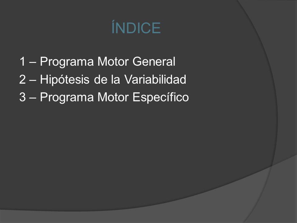 ÍNDICE 1 – Programa Motor General 2 – Hipótesis de la Variabilidad 3 – Programa Motor Específico