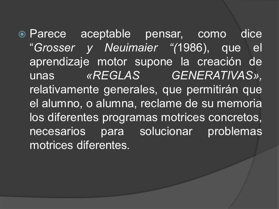 Parece aceptable pensar, como diceGrosser y Neuimaier (1986), que el aprendizaje motor supone la creación de unas «REGLAS GENERATIVAS», relativamente