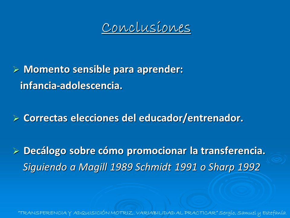 TRANSFERENCIA Y ADQUISICIÓN MOTRIZ. VARIABILIDAD AL PRACTICAR Sergio, Samuel y Estefanía. Conclusiones Momento sensible para aprender: Momento sensibl