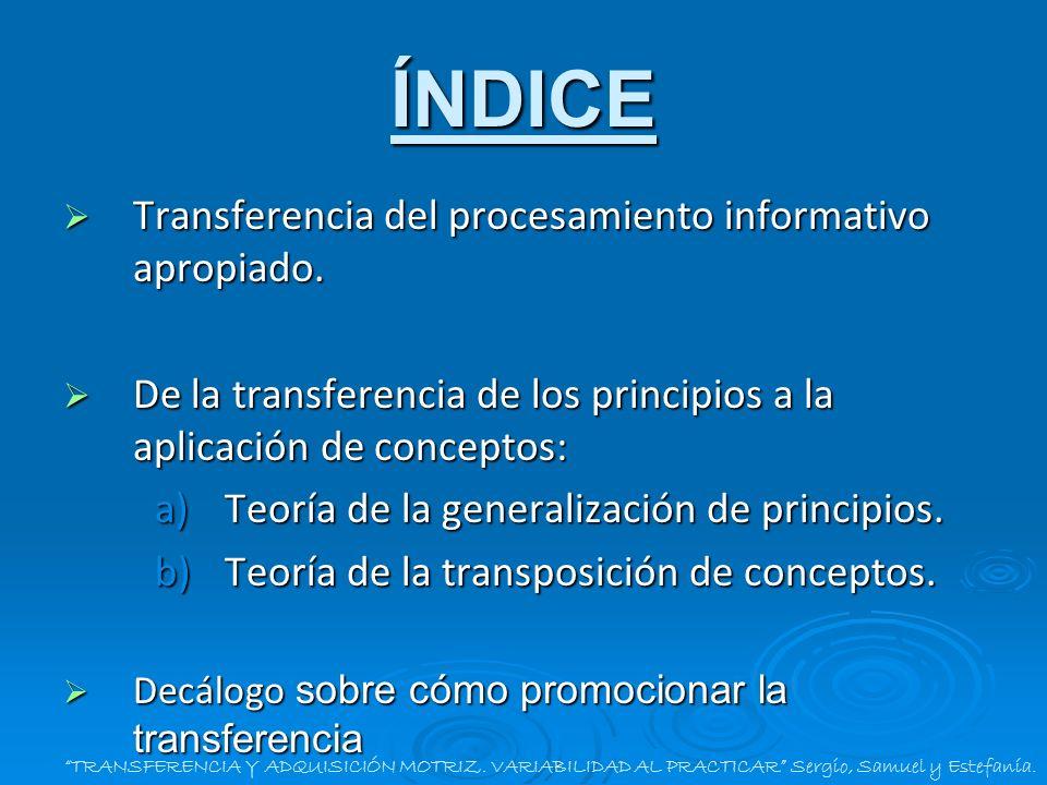 ÍNDICE Transferencia del procesamiento informativo apropiado. Transferencia del procesamiento informativo apropiado. De la transferencia de los princi