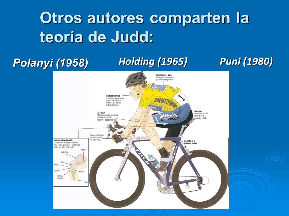 Otros autores comparten la teoría de Judd: Polanyi (1958) Holding (1965) Puni (1980)