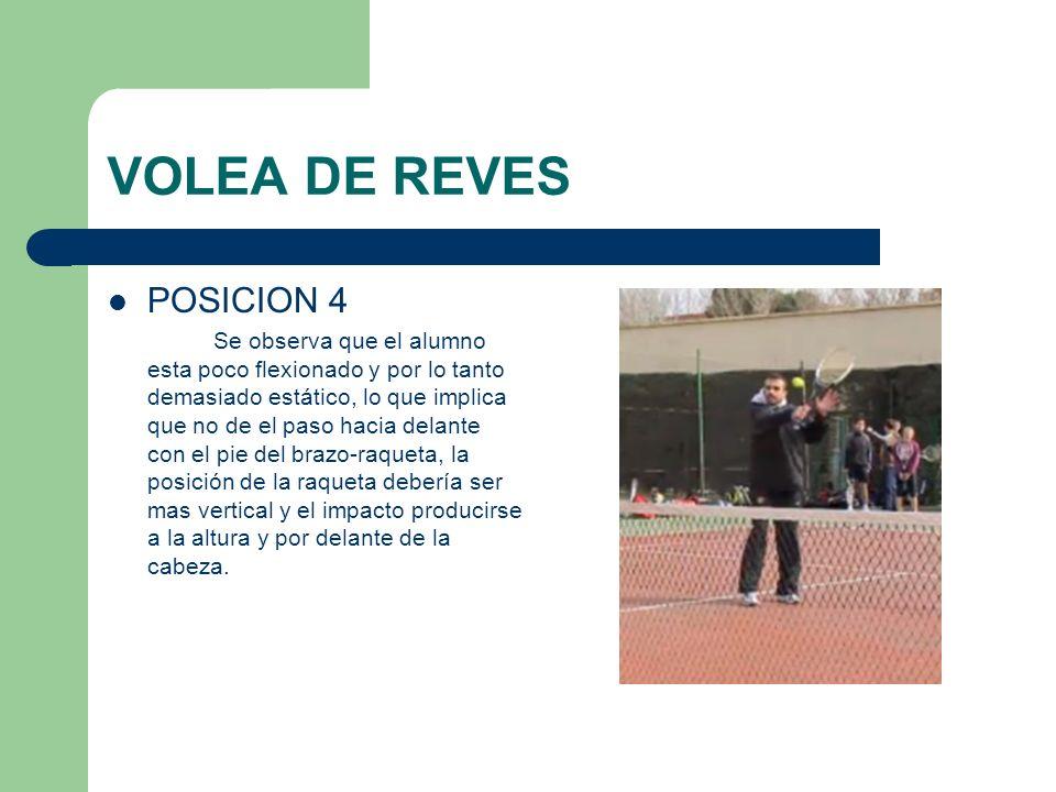 VOLEA DE REVES POSICION 4 Se observa que el alumno esta poco flexionado y por lo tanto demasiado estático, lo que implica que no de el paso hacia dela