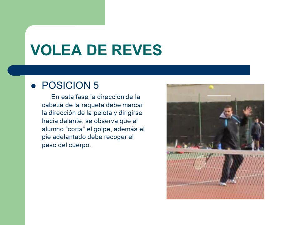 VOLEA DE REVES POSICION 5 En esta fase la dirección de la cabeza de la raqueta debe marcar la dirección de la pelota y dirigirse hacia delante, se obs