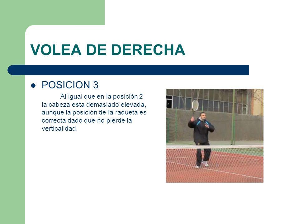 VOLEA DE DERECHA POSICION 3 Al igual que en la posición 2 la cabeza esta demasiado elevada, aunque la posición de la raqueta es correcta dado que no p