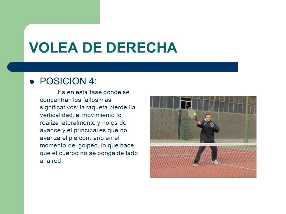 VOLEA DE DERECHA POSICION 5 Es la segunda fase pero del alumno; no continua el movimiento de la raqueta hacia delante apuntando con la cabeza de la raqueta donde queremos mandar la pelota, acompañando con el cuerpo dicho movimiento y cargando el peso en la pierna contraria al brazo-raqueta.