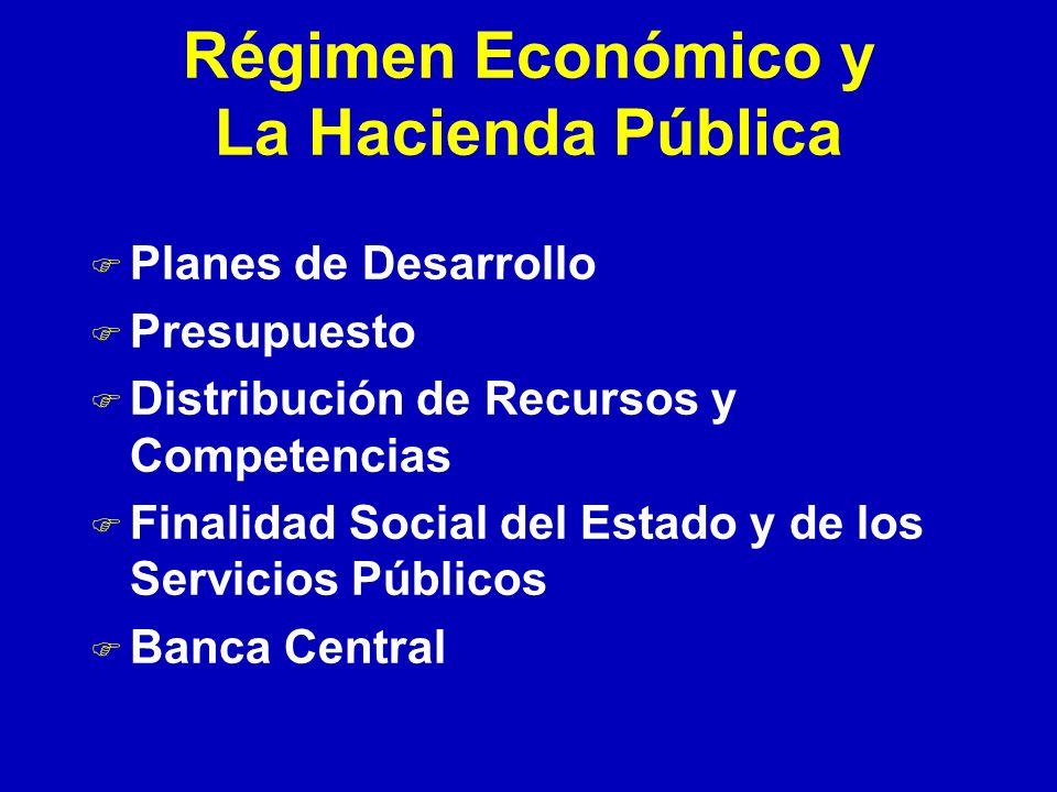 Régimen Económico y La Hacienda Pública F Planes de Desarrollo F Presupuesto F Distribución de Recursos y Competencias F Finalidad Social del Estado y