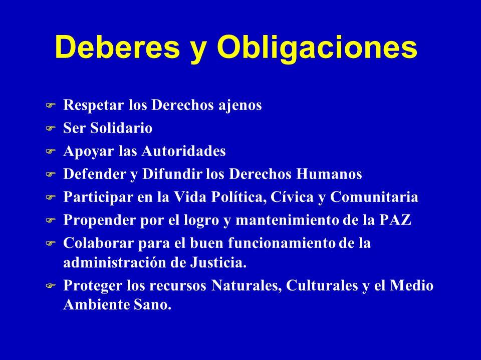 Deberes y Obligaciones F Respetar los Derechos ajenos F Ser Solidario F Apoyar las Autoridades F Defender y Difundir los Derechos Humanos F Participar