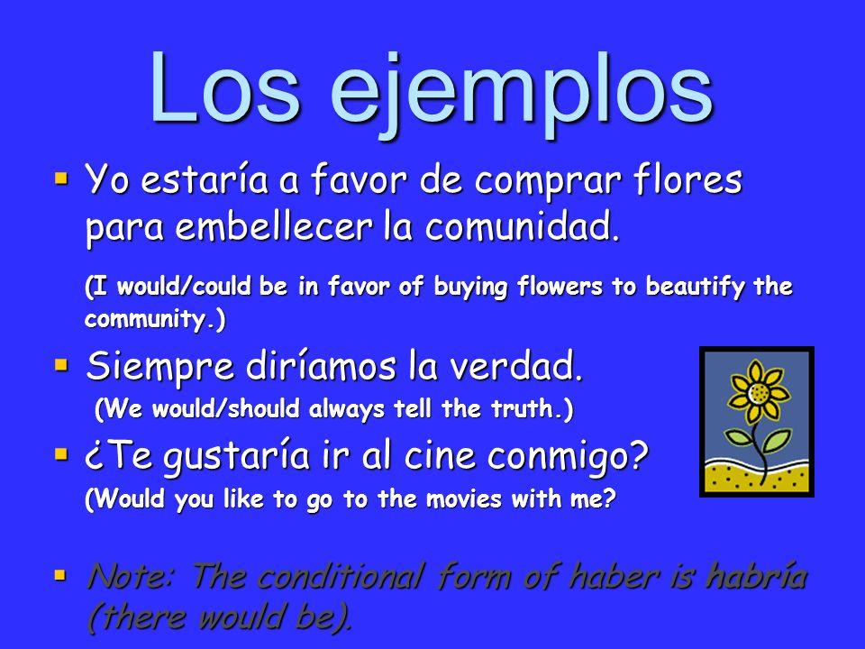 Los ejemplos Yo estaría a favor de comprar flores para embellecer la comunidad. Yo estaría a favor de comprar flores para embellecer la comunidad. (I