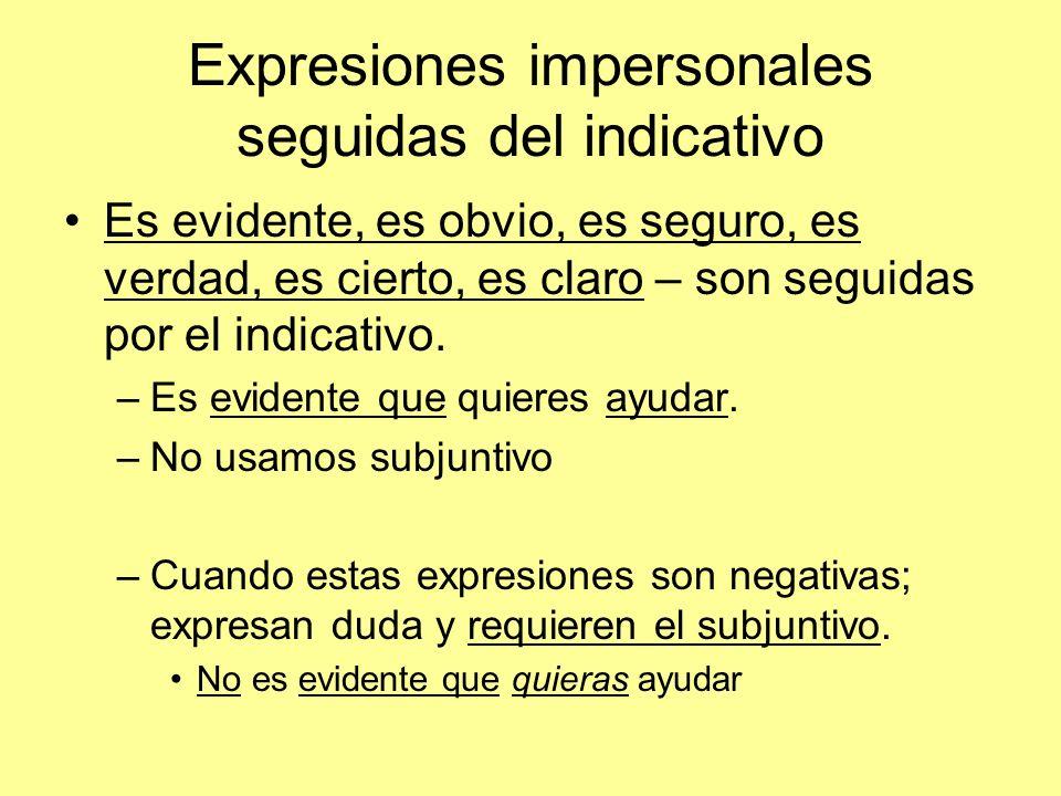 Expresiones impersonales seguidas del indicativo Es evidente, es obvio, es seguro, es verdad, es cierto, es claro – son seguidas por el indicativo.