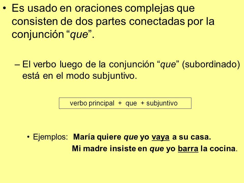 Es usado en oraciones complejas que consisten de dos partes conectadas por la conjunción que.