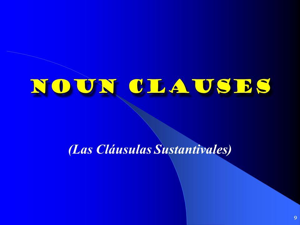 9 Noun Clauses (Las Cláusulas Sustantivales)